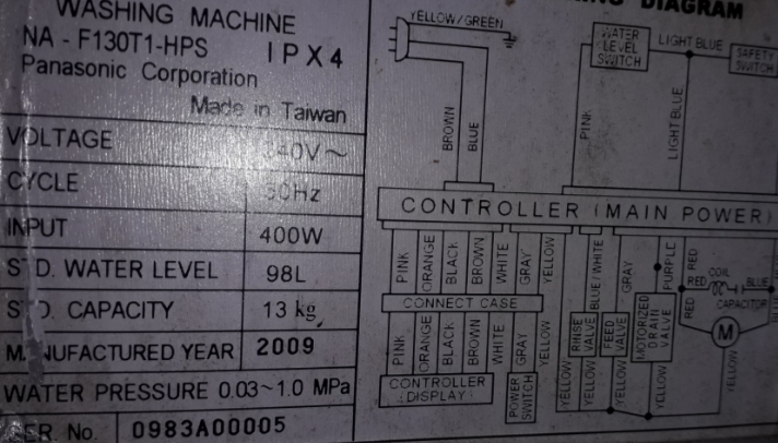 Panasonic fully automatic washing machine 13kg top loading